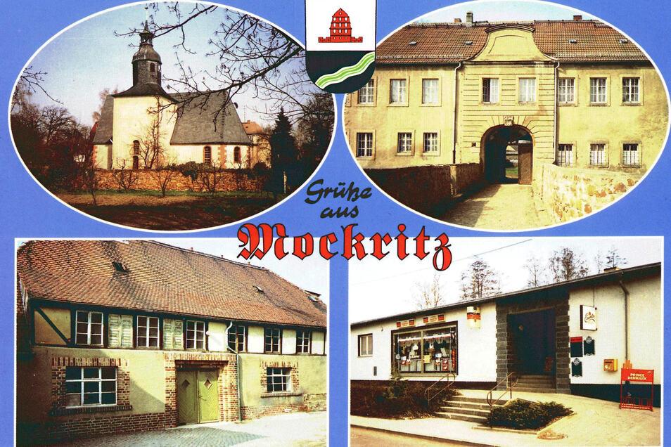 Eine alte Postkarte aus Mockritz. Darauf die Kirche, das Schloss, die Brauerei der Familie Krüger sowie eine Verkaufsstelle.