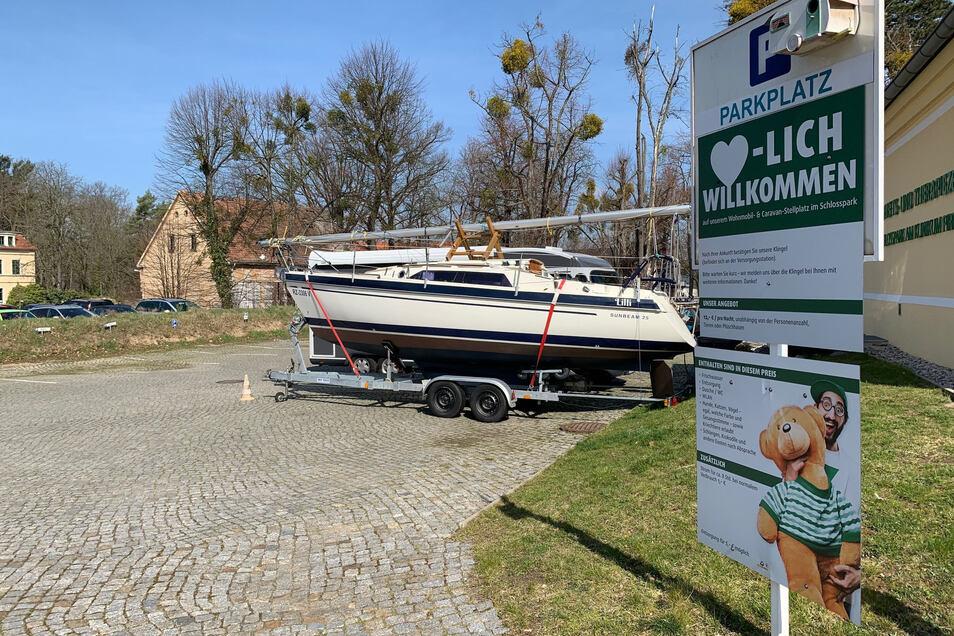Caravanstellplatz im Schlosspark auf dem Pirnaer Sonnenstein: Auf einen Schlag bundesweit im Gespräch.