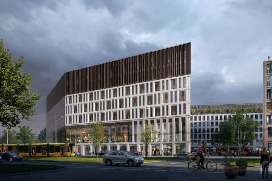 Wettbewerbsbeitrag 1: Blick aus Richtung Schulgasse auf das Verwaltungszentrum.