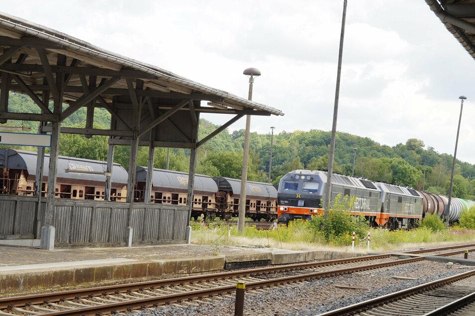 Ein schwedischer Güterzug fährt in den Nossener Bahnhof ein. Die Gleise könnten auch für den Personenverkehr schnell wieder fit gemacht werden.