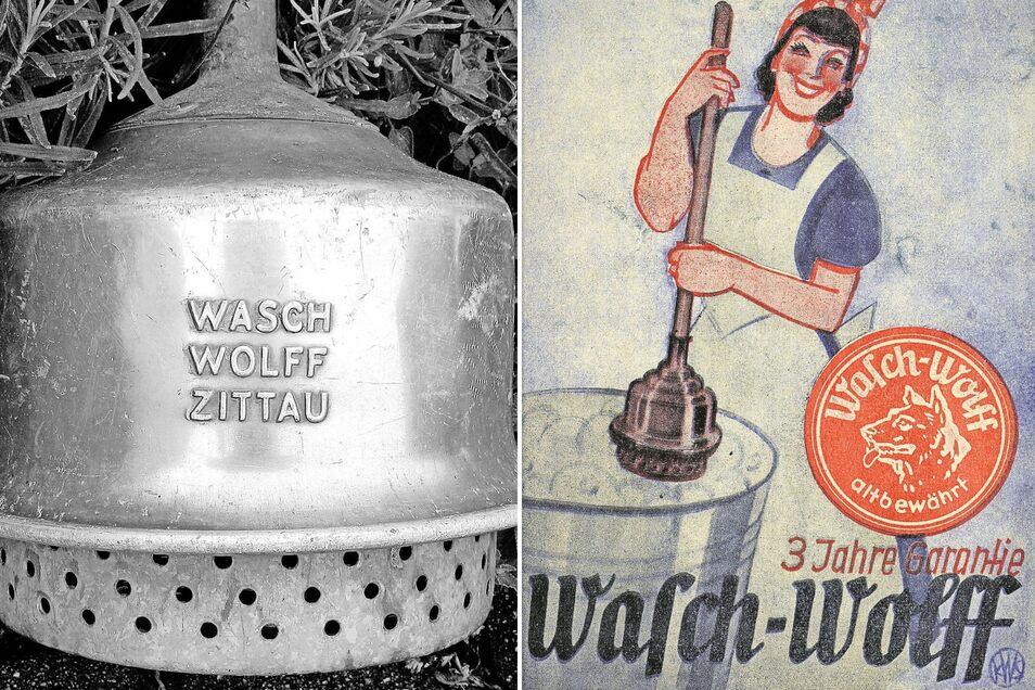 Der Zittauer Grafiker K. W. Schmidt gestaltete die Vorderseite Beipackzettels für den von der Zittauer Firma Wolff hergestellten Wäschestampfer (rechts). Produkt, Firma und Herkunftsort wurden auf dem Stampfer eingraviert (links)