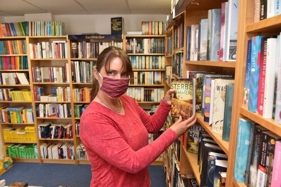 Auch wenn der Online-Buchladen gut genutzt wurde, freut sich Ines Siegmund auf Kunden am Markt in Wilsdruff.