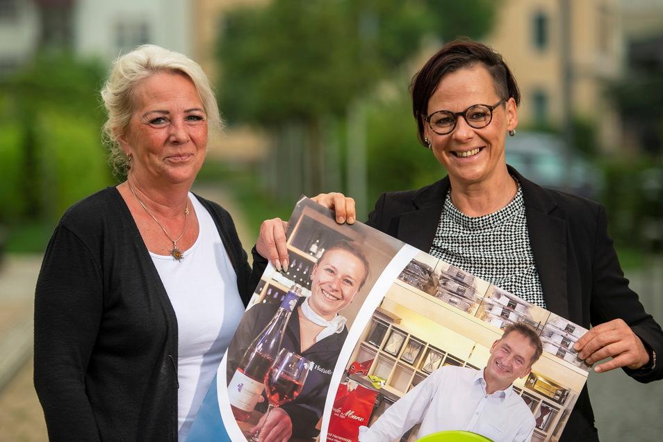 Sabine Luft (l.) ist die Stadtteilmanagerin für Radebeul-Ost, Christiane Weikert engagiert sich für das Zentrum von Kötzschenbroda. Sie werben dafür, dass Kunden lokal vor Ort in den Geschäften einkaufen kommen.