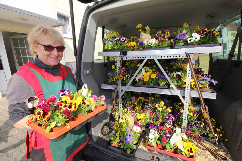 Petra Nieswand und ihr Mann Egbert hatten in ihrem Transporter die Blumen-Stiegen bis unters Dach gestapelt – immerhin hundert an der Zahl, eine für jeden Eigentümer.