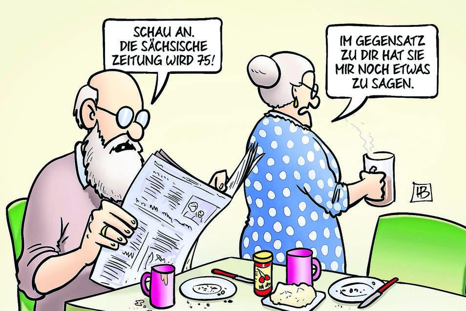 Das alte Ehepaar am Küchentisch - klassisches Motiv von Harm Bengen. Er ist einer von vielen Karikaturisten, deren Werk in fast jeder SZ-Ausgabe auf der Titelseite gedruckt wird.