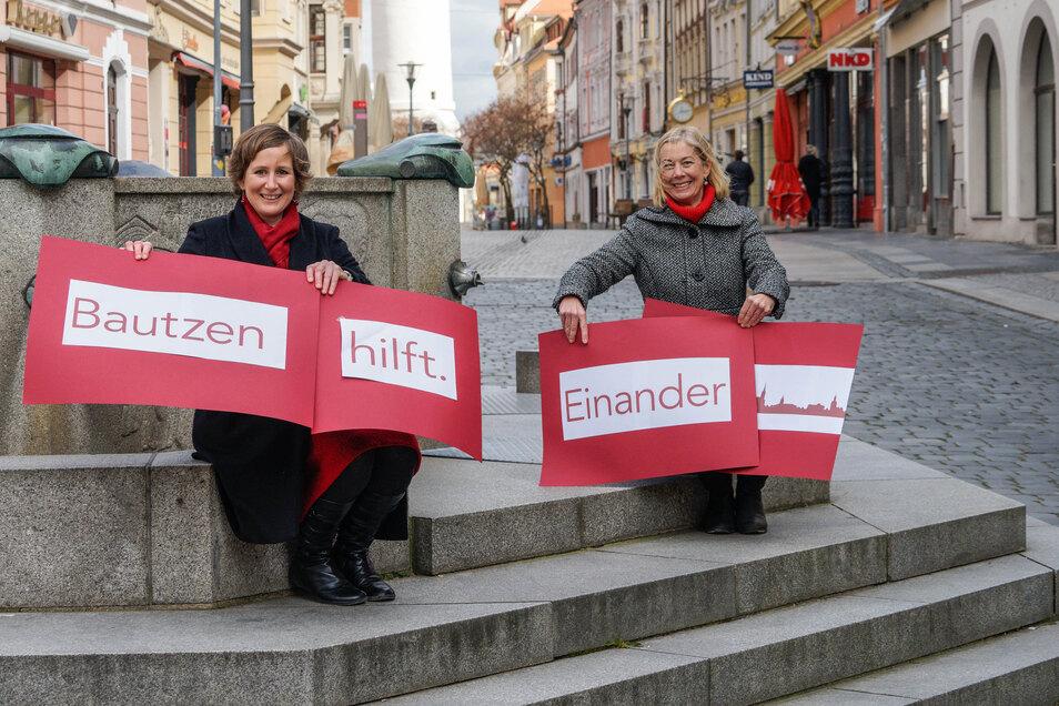 Monika Vetter (l.) und Katja Gerhardi haben in Bautzen eine Initiative gestartet, um den Einzelhändlern in der Stadt zu helfen.