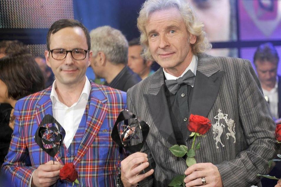 Karrieregipfel: Kurt Krömer (l) und Thomas Gottschalk im April 2011 in Marl bei der Verleihung der Grimme-Preise.