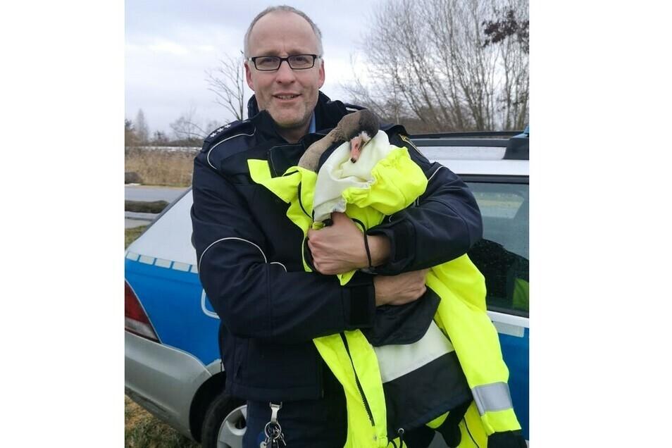 Der 44-jährige Polizeihauptkommissar Danilo Jander mit dem geretteten Tier
