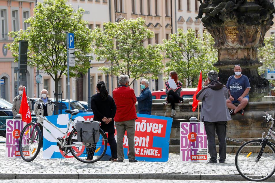 Die Linke lud zu einer Kundgebung auf die Zittauer Neustadt ein.