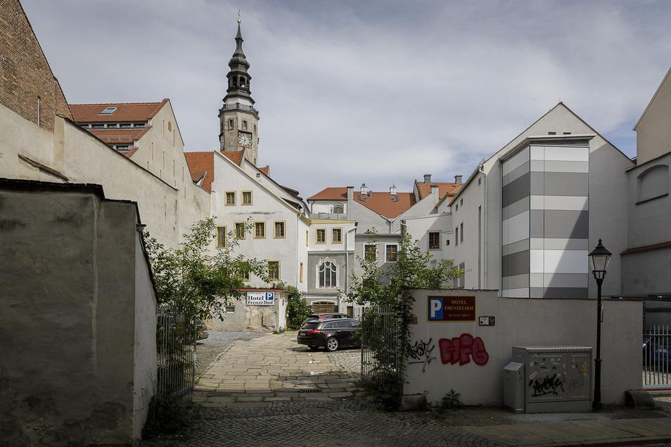 Der Blick heute von der Bäckerstraße zum Rathaus