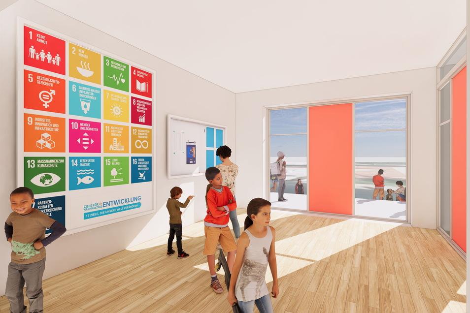 So stellt sich der Planer den Eingangsbereich der neuen Schule vor. Der Verein verhandelt  mit der TAG Wohnen über den Umbau eines geeigneten Gebäudes.