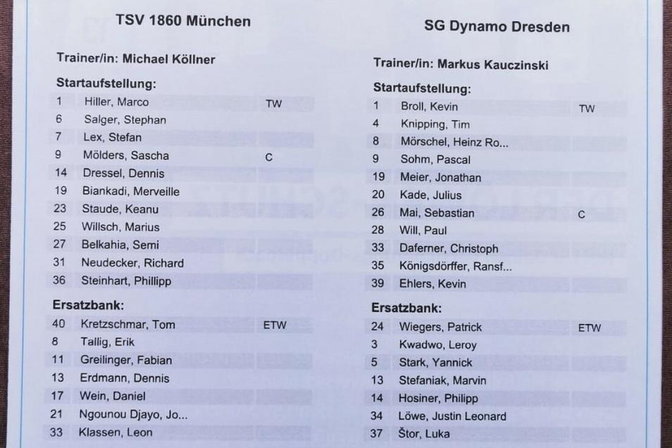 Auch beim genauen Betrachten steht fest: Dynamo spielt mit der identischen Besetzung wie zuletzt gegen Wiesbaden. Und Ex-Dynamo Dennis Erdmann sitzt bei 1860 erst mal auf der Bank.