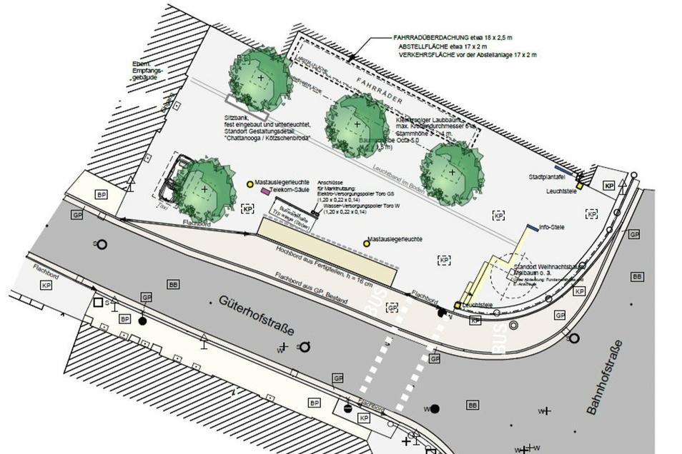 Diese Planungsskizze ist im Verkehrskonzept zu finden. Es handelt sich um einen Vorentwurf zur Neugestaltung des Bahnhofsvorplatzes.