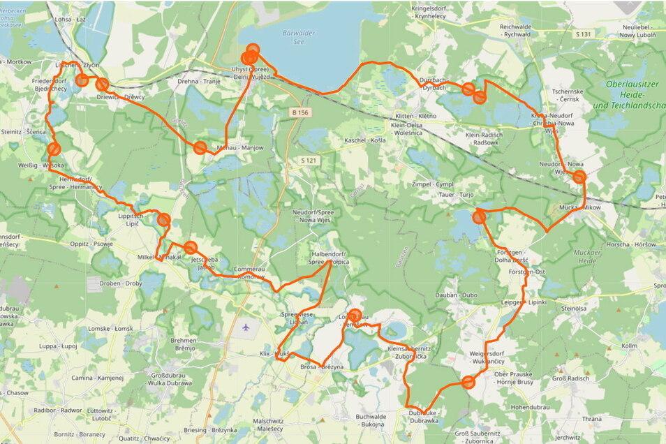 So verläuft der Seeadler-Rundweg im Biosphärenreservat Oberlausitz.