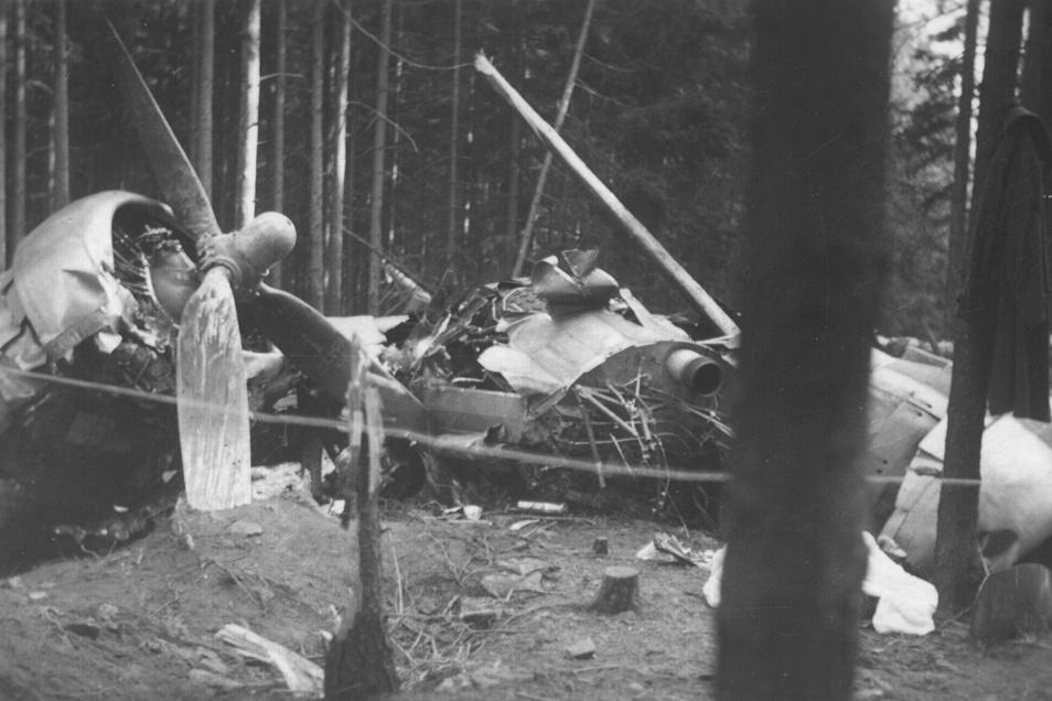 Originalaufnahmen des völlig zerstörten Bomberwracks im Hochwald.