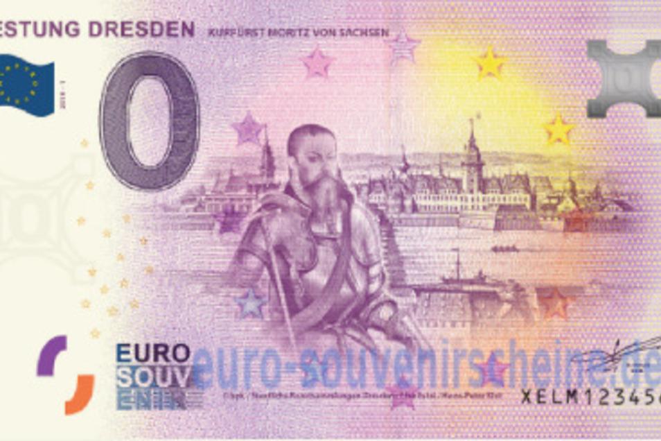 Teurer Herrscher: Es gibt sogar eine Souvenir-Banknote mit Moritz von Sachsen vor einer zeitgenössischen Dresdner Stadtansicht.
