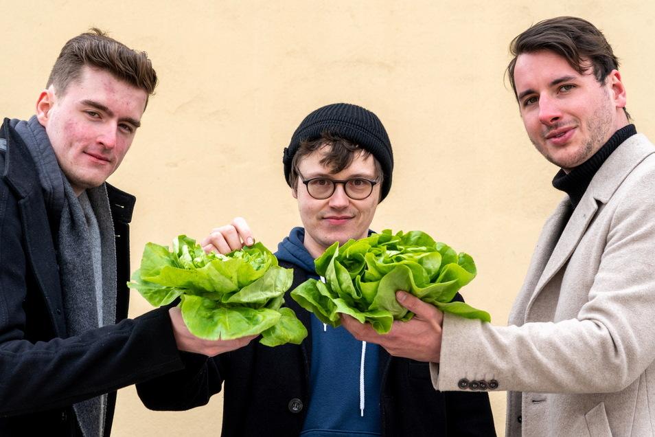 Die drei Studenten (l-r) Fabian Schröder, Florian Böhme und David Muuß von der Handelshochschule Leipzig (HHL) haben die Endrunde des internationalen Business Plan-Wettbewerbs um die beste nachhaltige Geschäftsidee erreicht.