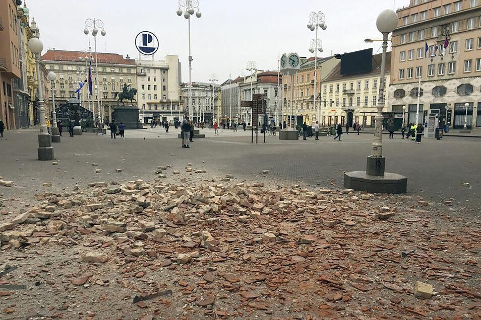 Blick auf einen Hauptplatz im Zentrum von Zagreb.