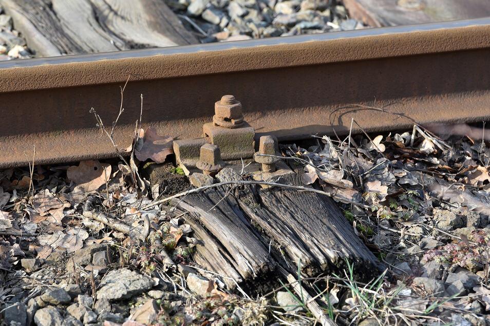 Wie marode die Strecke ist, kann man unter anderem an dieser Bahnschwelle erkennen.