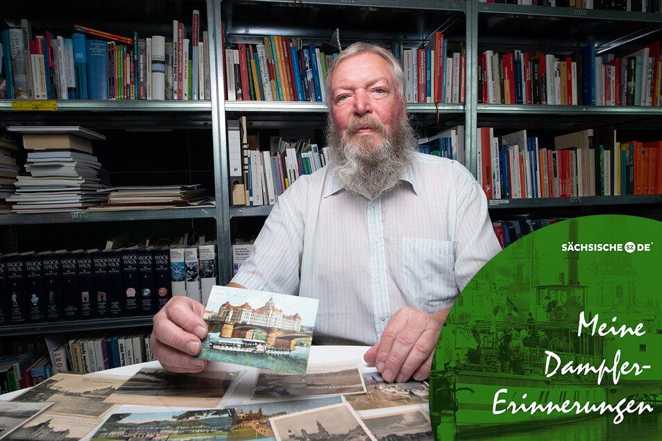 In der gigantischen Postkarten-Sammlung von Holger Naumann finden sich auch 400 Dampfer-Motive.