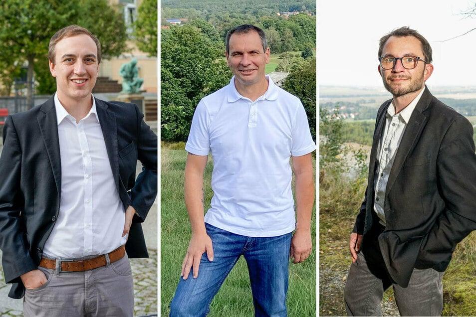Keiner der Bürgermeisterkandidaten in Demitz-Thumitz erreichte im ersten Wahlgang die absolute Mehrheit (von links): Benjamin Lange (Wählervereinigung), Patrik Eisold (Einzelbewerber), Jens Glowienka (CDU).