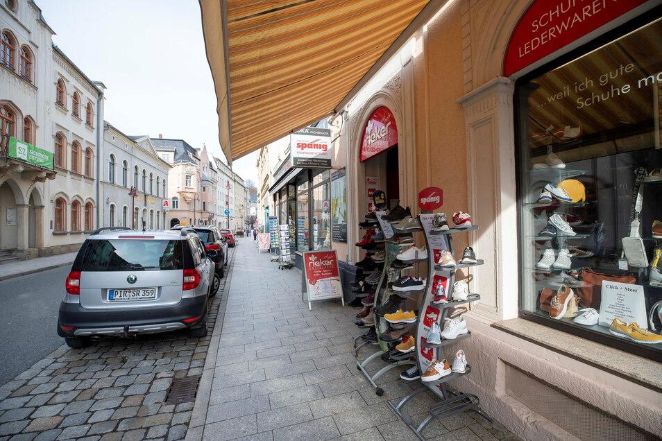 Schandauer Straße in Sebnitz: In der Stadt werden Hilfen für das örtliche Gewerbe diskutiert.