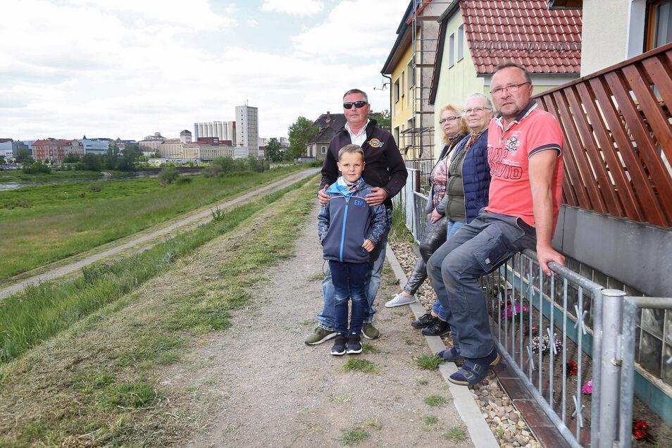 Daniel Kühne (mit Sohn Daniel), Maria Rossi, Charlotte Diehm und Waldemar Kowolik (v.l.n.r.) leben am Elbdamm in Promnitz. Der soll saniert werden. Doch dafür muss die Gemeinde in die Grundstücke eingreifen. Das sorgt für Skepsis.