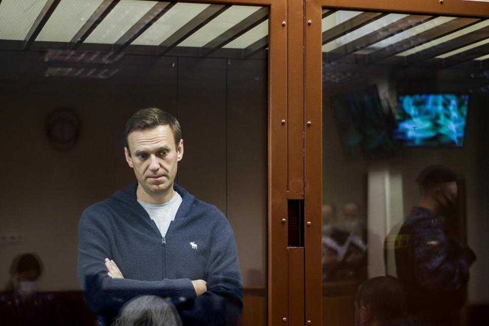 Der russische Oppositionspolitiker Alexej Nawalny während einer Anhörung vor dem Bezirksgericht Babuskinsky in Moskau. Nawalny muss sich wegen des Vorwurfs der Verleumdung eines Weltkriegsveteranen verantworten.
