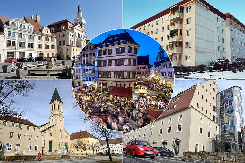 Nach den Prognosen der Statistiker wird Görlitz (Bildmitte) im Jahr 2035 mehr Einwohner haben als die anderen vier Städte zusammen: Löbau, Weißwasser, Zittau und Niesky (von oben links im Uhrzeigersinn).