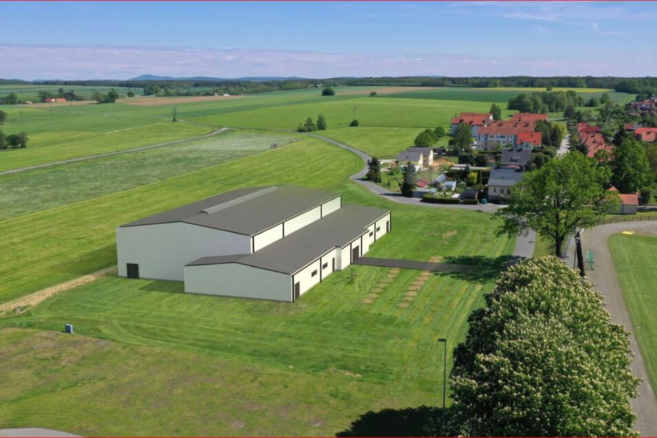 Eine Zukunftsvision von der neuen Großröhrsdorfer Sporthalle. Sie soll neben dem Stadion entstehen und etwa so aussehen. Über die Farbe ist wohl noch nicht entschieden.