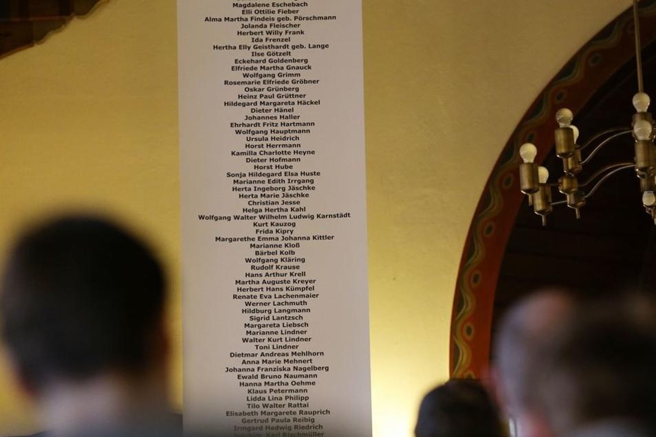 Die Namen der Ermordeten sind auf einer Tafel festgehalten.