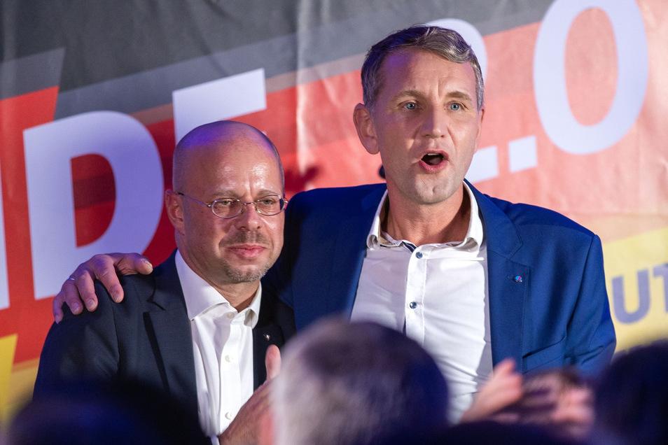 """Die wichtigsten Vertreter des """"Flügels"""": Björn Höcke (rechts) und Andreas Kalbitz"""