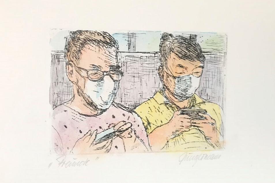 Sein neuestes Werk: Eine Mappe über verschiedenste Alltagssituationen während der Corona-Pandemie mit 10 Kunstdrucken.