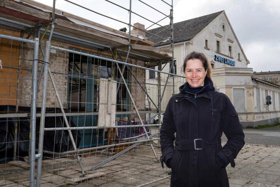 """Stefanie Knerr, Besitzerin des Areals """"Zwei Linden"""" in Görlitz-Rauschwalde. Sie baut nicht nur das Kassenhaus aus, sondern etabliert auch einen Markttag."""