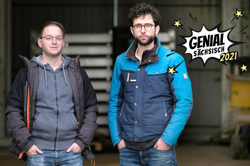 """Die beiden Geschäftsführer von """"madebymade"""" Kai Hempel (li.) und Jonas Finck haben sich einen Proteinersatz für Tierfutter erdacht."""