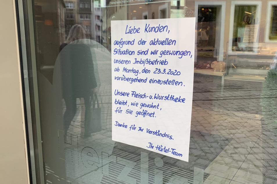 Die Härtel-Fleischerei weist darauf hin, dass ab 23. März der Imbiss-Betrieb eingestellt wird.