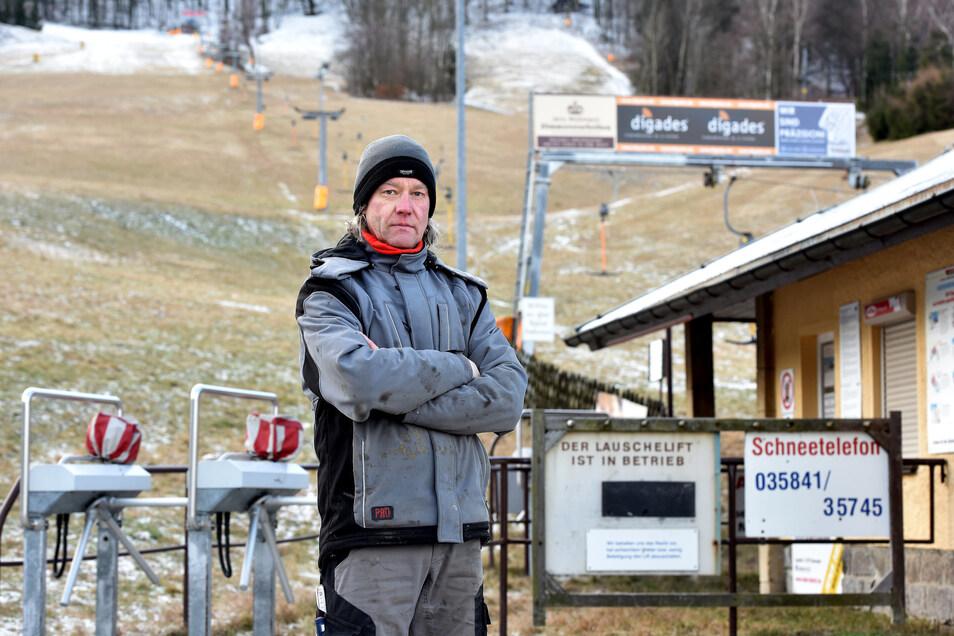 Frank Hirschmann vom Alpinen Skiverein in Waltersdorf konnte den Lauschelift in der letzten Saison kein einziges Mal zum Laufen bringen.