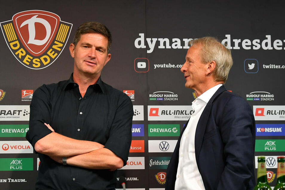 Sie haben sich entschieden: Dynamo klagt nicht gegen den Abstieg. Das Risiko, da sind sich Sportchef Ralf Becker (links) und der Aufsichtsratsvorsitzende Jens Heinig einig, wäre zu groß.
