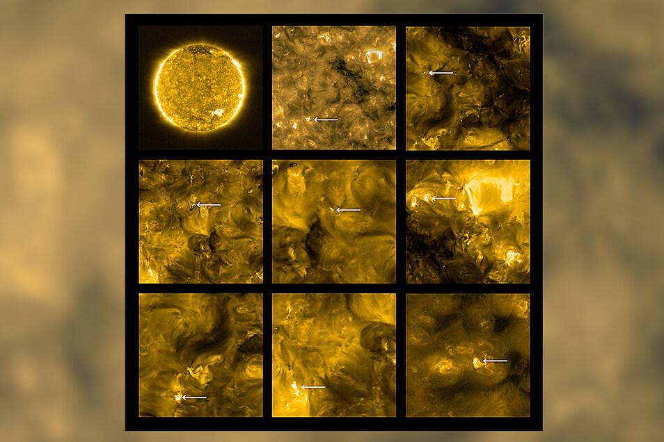 Diese Bilder zeigen die obere Atmosphäre der Sonne, die Korona, mit einer Temperatur von etwa 1 Million Grad.
