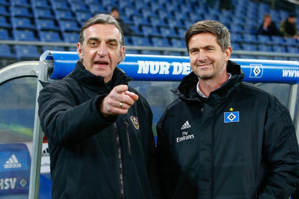 Im Februar 2019 stand Ralf Minge im Hamburger Volksparkstadion neben seinem Nachfolger Ralf Becker.