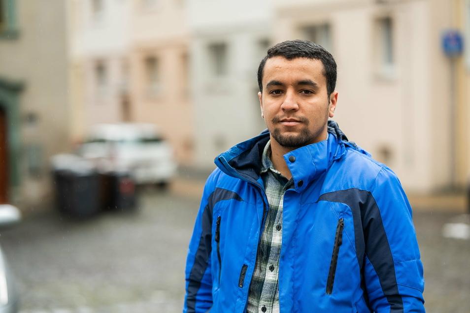 Anass Halime unweit seiner Görlitzer Wohnung, wo die rassistische Attacke geschah.