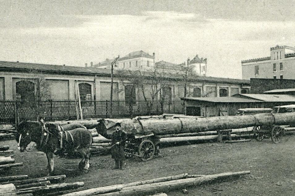 Eine Langholzfuhre der Firma Deutscher & Knobloch Sägewerke mit der Mandaukaserne im Hintergrund.