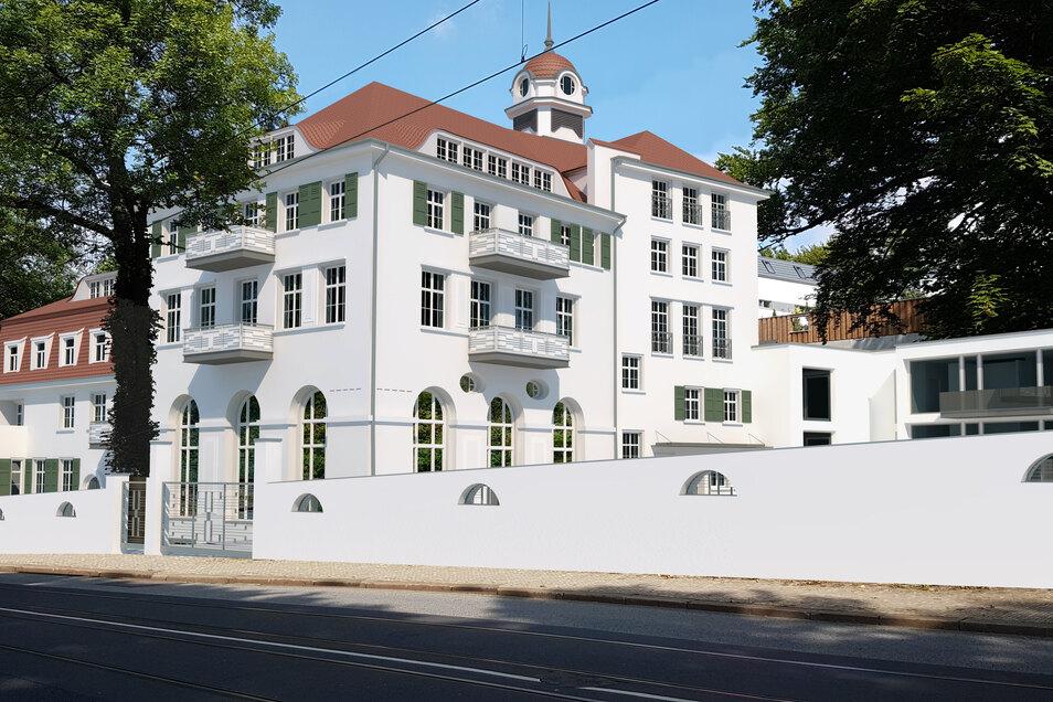 Das frühere Wirtschaftsgebäude an der Bautzner Landstraße soll bis 2021 fertig werden und um einen dahinterliegenden Neubau ergänzt werden.