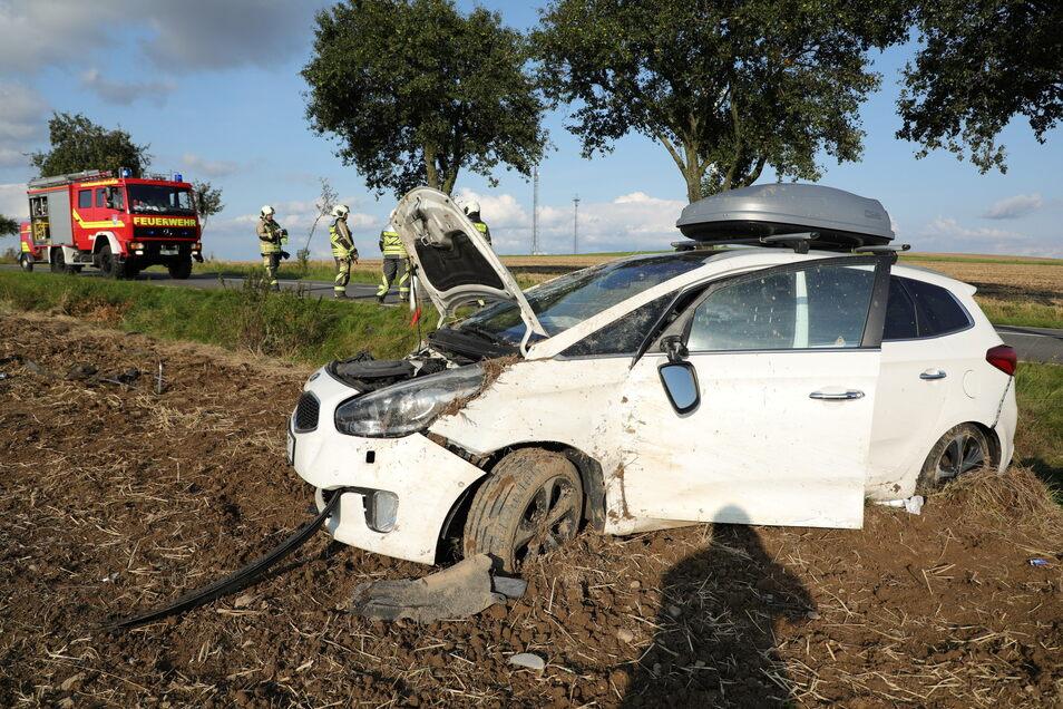 Bei dem Unfall auf der B173 bei Mohorn wurden vier Personen verletzt.