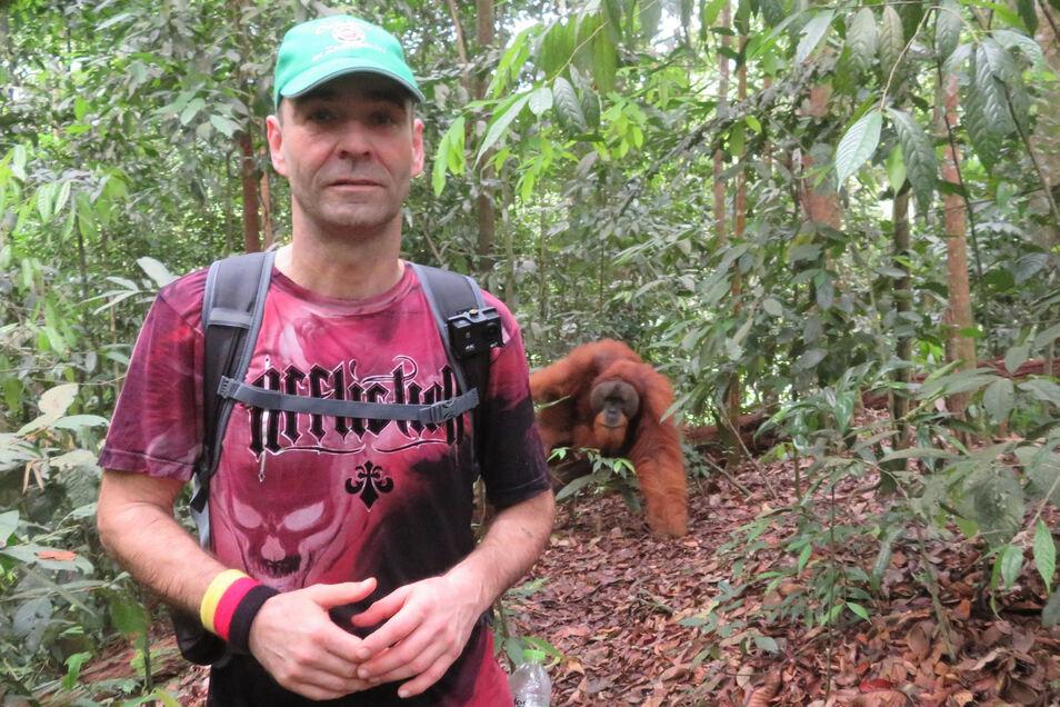 Eine tolle Begegnung im Dschungel: Renee Läßig trifft einen Orang-Utan.