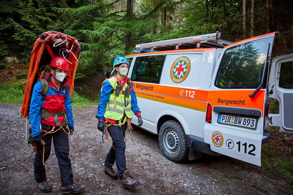 Die Bergwacht rettete am Sonntag einen Wanderer bei Schmilka.