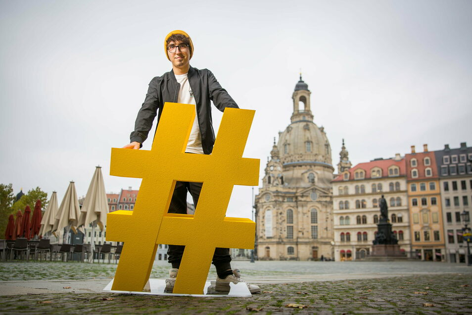 Nie ohne meinen Hashtag: Florian Kneffel ist Social-Media-Experte bei der Dresden Marketing GmbH.