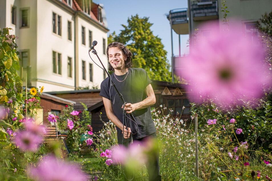 Kristian Eicke wird am Sonntag eine Parzelle der Kleingartenanlage Flora I zum Tonstudio machen.