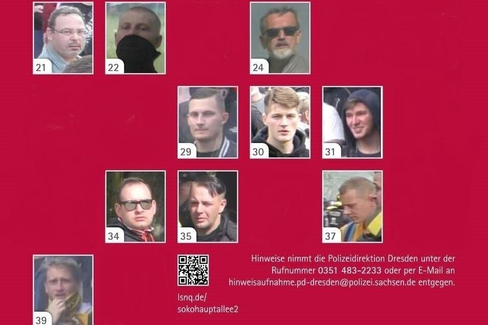 Polizei und Staatsanwaltschaft fahnden nach 20 weiteren Männern, die bei der Aufstiegsfeier von Dynamo Dresden Mitte Mai randaliert haben sollen. Bis Freitag konnten zehn identifiziert werden. Ihre Bilder werden daher nicht mehr gezeigt.