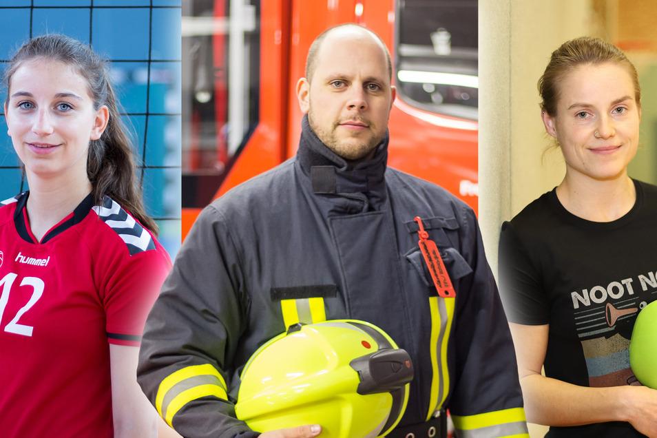 Drei Polizeistudenten auf Abwegen. Nina Weickert spielt in Rothenburg Volleyball, Paul Hoppe unterstützt die Feuerwehr der Neißestadt. Und Dörthe Hänel flitzt in Niesky mit dem Hockeyschläger übers Parkett.
